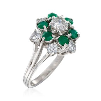 C. 1990 Vintage 1.25 ct. t.w.  Diamond and .90 ct. t.w. Emerald Cluster Ring in 14kt White Gold. Size 5.5, , default
