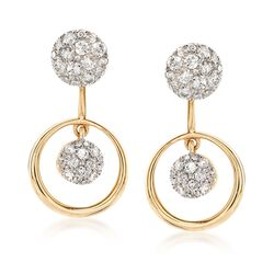.65 ct. t.w. Pave Diamond Jewelry Set: Earrings and Front-Back Jackets in 14kt Yellow Gold , , default
