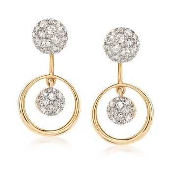 .65 ct. t.w. Pave Diamond Jewelry Set: Earrings and Front-Back Jackets in 14kt Yellow Gold, , default