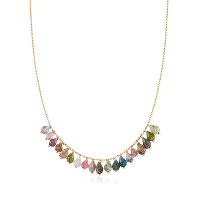 Italian 19.00 ct. t.w. Multicolored Tourmaline Bead Necklace in 14kt Yellow Gold, , default
