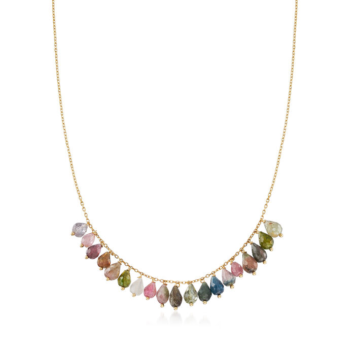 Italian 19.00 ct. t.w. Multicolored Tourmaline Bead Necklace in 14kt Yellow Gold