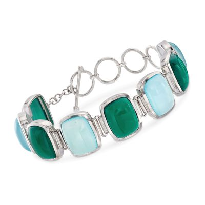 Aqua Blue and Green Chalcedony Bracelet in Sterling Silver , , default