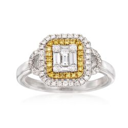 Gregg Ruth .59 ct. t.w. Yellow and White Diamond Ring in 18kt White Gold, , default