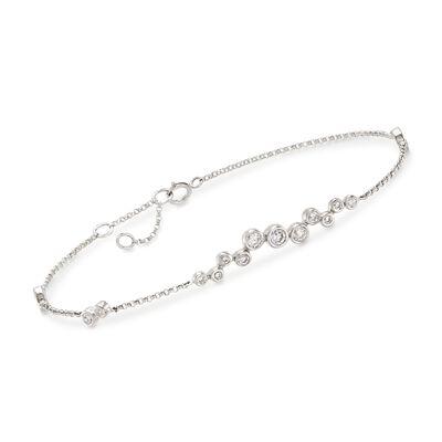 .61 ct. t.w. Bezel-Set Diamond Cluster Bracelet in 14kt White Gold, , default