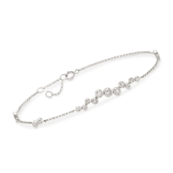 ".61 ct. t.w. Bezel-Set Diamond Cluster Bracelet in 14kt White Gold. 6"", , default"