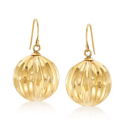 Italian Andiamo 14kt Yellow Gold Fluted Drop Earrings, , default