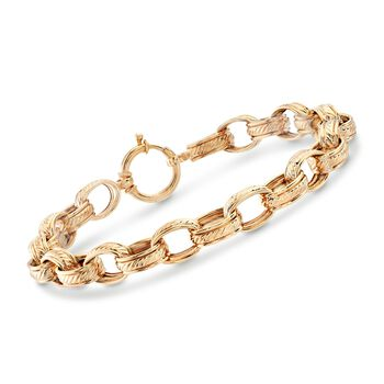 18kt Yellow Gold Over Sterling Silver Oval-Link Bracelet , , default