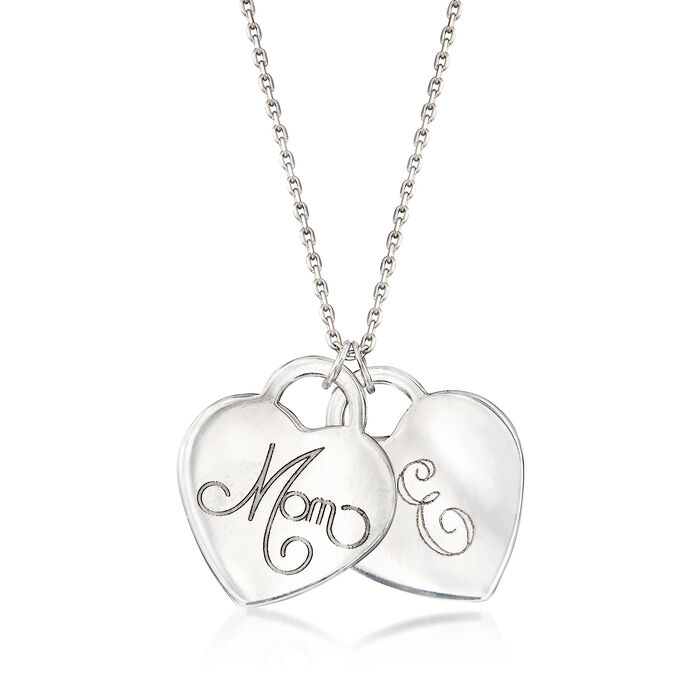 Personalized Double Heart Necklace in 14kt White Gold, , default