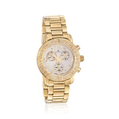 Giorgio Milano Women's 41mm Chronograph Gold-Plated Stainless Steel Watch with Swarovski Crystals, , default