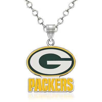 "Sterling Silver NFL Green Bay Packers Enamel Pendant Necklace. 18"", , default"