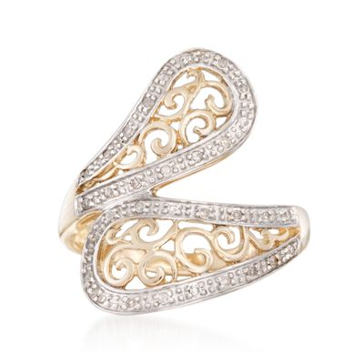 .14 ct. t.w. Diamond Open Scrollwork Bypass Ring in 14kt Yellow Gold, , default