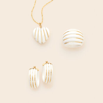 "White Agate Striped Hoop Earrings in 14kt Yellow Gold. 1"", , default"