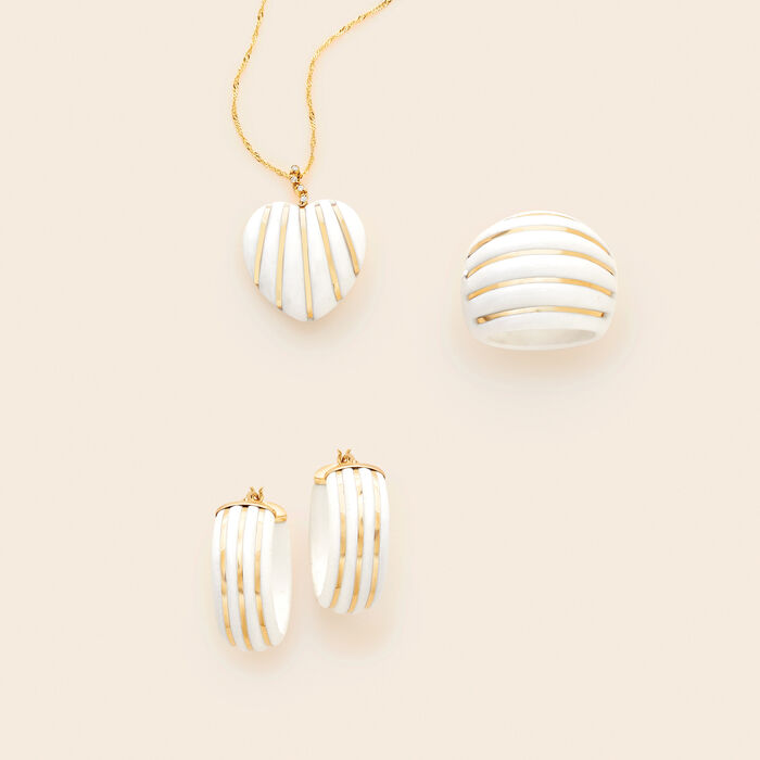 White Agate Striped Hoop Earrings in 14kt Yellow Gold