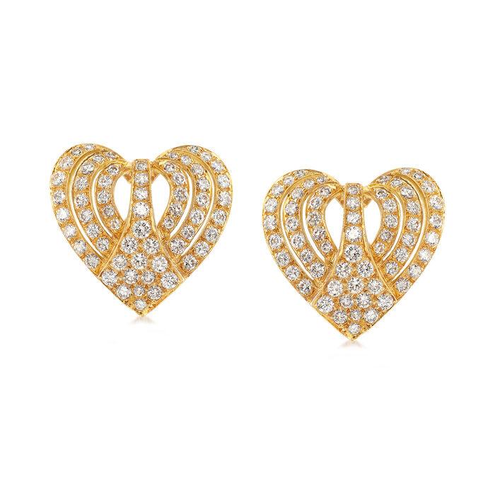 C. 1980 Vintage 3.00 ct. t.w. Diamond Heart Earrings in 18kt Yellow Gold, , default