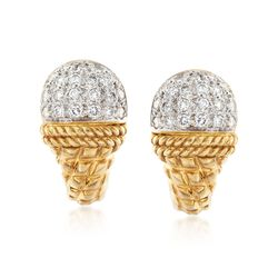 C. 1990 Vintage Cassis 1.00 ct. t.w. Diamond Dome Top Earrings in 18kt Yellow Gold , , default