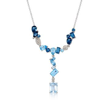"""5.30 ct. t.w. Tonal Blue Topaz Y-Necklace With Diamond Accents in Sterling Silver. 20"""", , default"""
