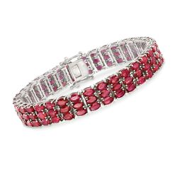 3-5mm Multi-Row Ruby Bracelet in Sterling Silver, , default