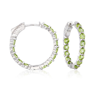 2.90 ct. t.w. Peridot Inside-Outside Hoop Earrings in Sterling Silver, , default