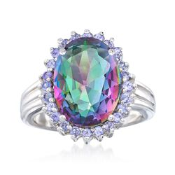 5.50 Carat Mystic Quartz and .40 ct. t.w. Tanzanite Ring in Sterling Silver, , default
