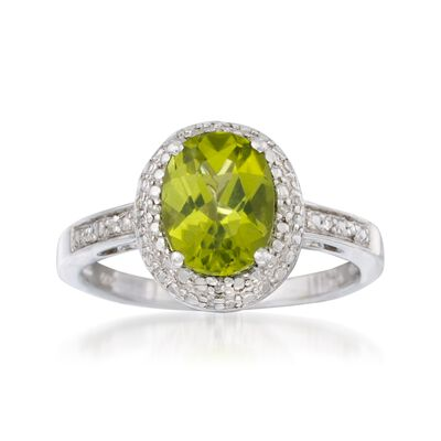1.90 Carat Peridot and Diamond Ring in Sterling Silver, , default