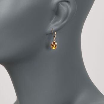 "3.20 ct. t.w. Citrine Drop Earrings in 14kt Yellow Gold. 1"""