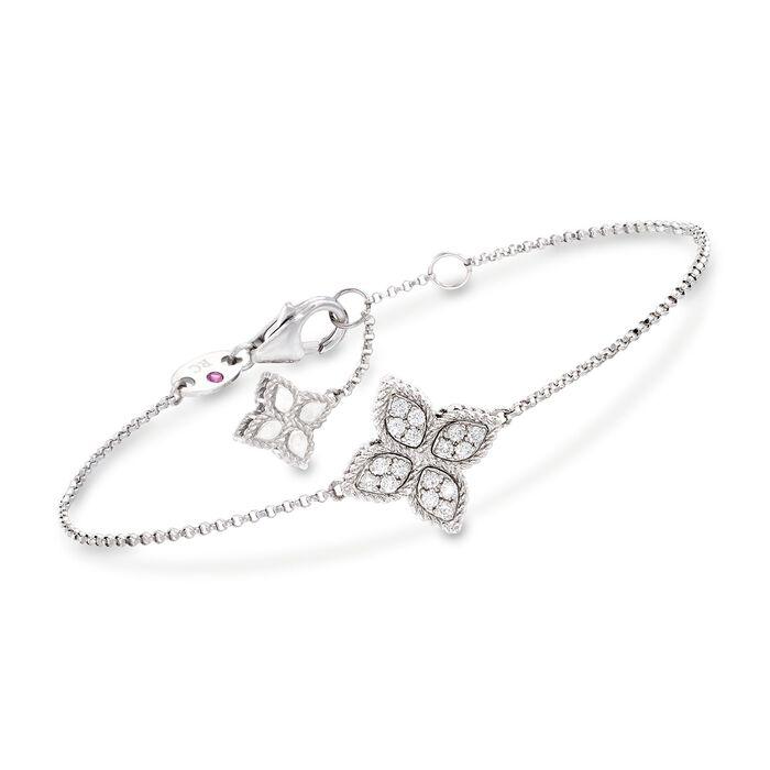 "Roberto Coin ""Princess"" .17 ct. t.w. Diamond Flower Bracelet in 18kt White Gold. 7"", , default"