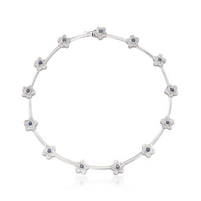 C. 1990 Vintage 2.00 ct. t.w. Sapphire and 2.00 ct. t.w. Diamond Floral Necklace in 18kt White Gold, , default