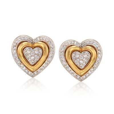 C. 1990 Vintage 1.50 ct. t.w. Diamond Heart Clip-On Earrings in 18kt Yellow Gold