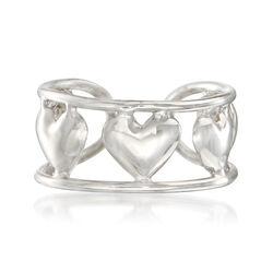 14kt White Gold Multi-Heart Single Ear Cuff, , default
