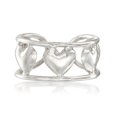 14kt White Gold Multi-Heart Single Ear Cuff, , default