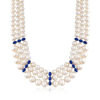 """3-10.5mm Cultured Pearl and Lapis Three-Strand Necklace in Sterling Silver. 18"""", , default"""