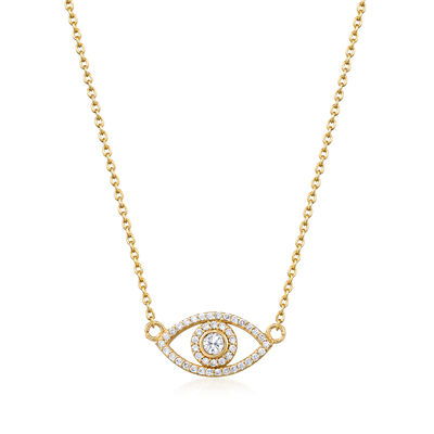 .35 ct. t.w. CZ Evil Eye Necklace in 18kt Gold Over Sterling