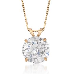 "2.00 Carat CZ Solitaire Necklace in 14kt Yellow Gold. 18"", , default"