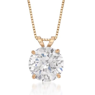 2.00 Carat CZ Solitaire Necklace in 14kt Yellow Gold, , default