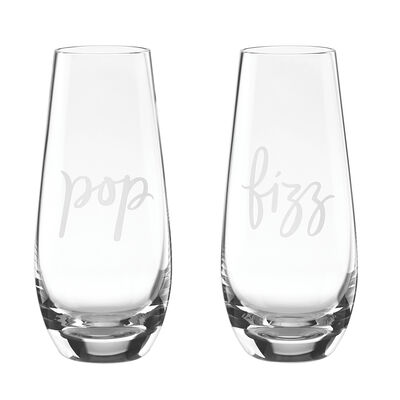 "Kate Spade New York ""Two of a Kind"" Set of 2 ""Pop"" and ""Fizz"" Champagne Glasses"