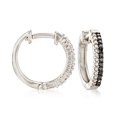 .25 ct. t.w. Black and White Diamond Hoop Earrings in Sterling Silver