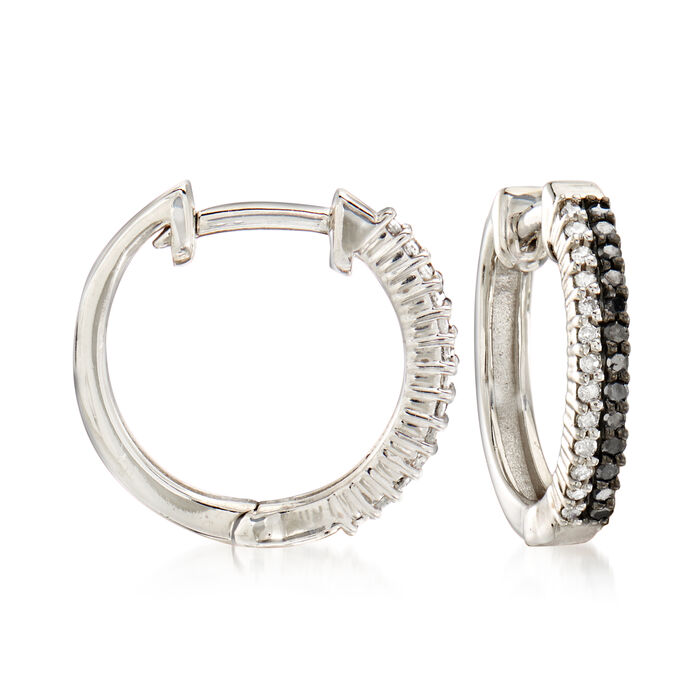 .25 ct. t.w. Black and White Diamond Hoop Earrings in Sterling Silver