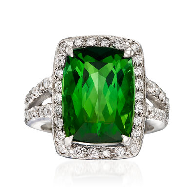 9.50 Carat Green Tourmaline and .75 ct. t.w. Diamond Ring in 14kt White Gold, , default
