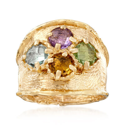 Italian 2.40 ct. t.w. Multi-Gemstone Ring in 14kt Yellow Gold, , default