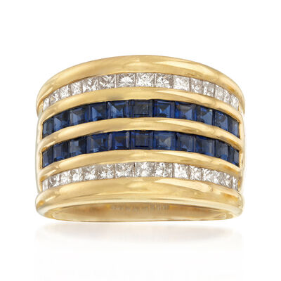 C. 1980 Vintage 2.93 ct. t.w. Sapphire and 1.00 ct. t.w. Diamond Multi-Row Ring in 18kt Yellow Gold