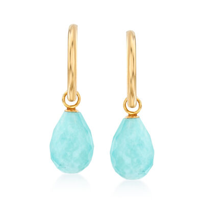 Stabilized Turquoise J-Hoop Drop Earrings in 14kt Yellow Gold, , default
