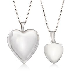 Sterling Silver Mother/Daughter Jewelry Set: Two Heart Locket Necklaces, , default