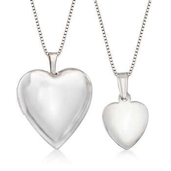 "Sterling Silver Mother/Daughter Jewelry Set: Two Heart Locket Necklaces. 14""-18"", , default"