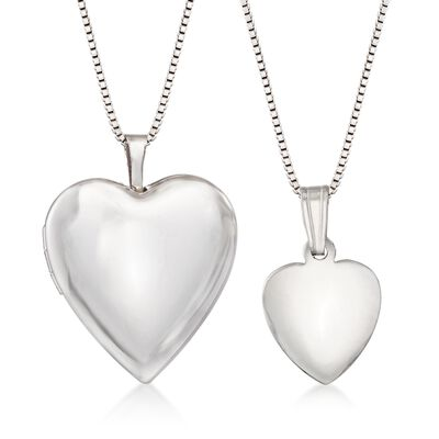 Sterling Silver Mom & Me Jewelry Set: Two Heart Locket Necklaces, , default