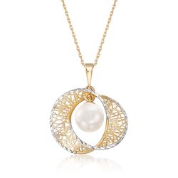 "7-7.5mm Cultured Pearl Pendant Necklace in 14kt Yellow Gold. 18"", , default"