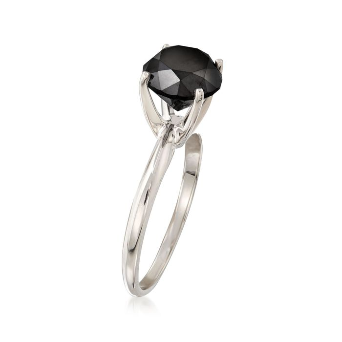 3.00 Carat Black Diamond Solitaire Ring in 14kt White Gold