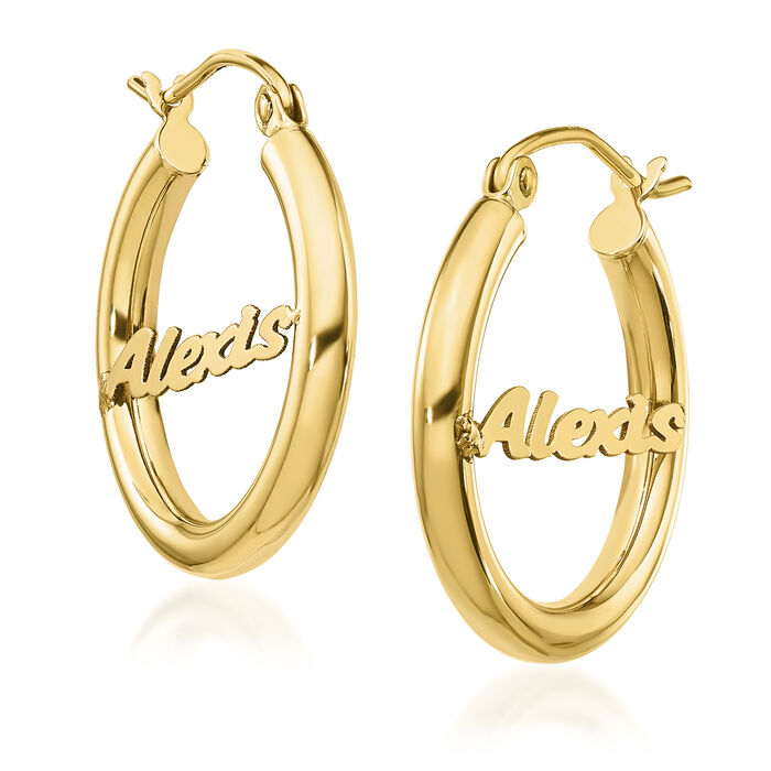 14kt Yellow Gold Name Hoop Earrings