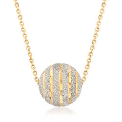 Italian 18kt Two-Tone Gold Striped Bead Necklace, , default