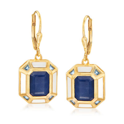 6.25 ct. t.w.  Sapphire, .50 ct. t.w. Sky Blue Topaz and White Enamel Vintage-Style Drop Earrings in 18kt Gold Over Sterling