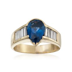 C. 1980 Vintage 2.70 Carat  Sapphire and 1.35 ct. t.w. Diamond Ring in 18kt Yellow Gold. Size 9, , default